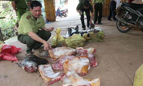 Theo dòng thời sự ngày 23/12/2014:Tận diệt thú rừng do buông lỏng quản lý- Bài 1: Bày bán công khai thịt thú rừng tại Bình Phước.
