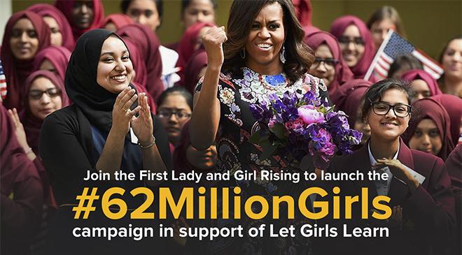"""Sáng kiến giáo dục """"Let Girls Learn"""" (hãy để các cô gái học hành) của phu nhân Tổng thống Mỹ (18/3/2016)"""