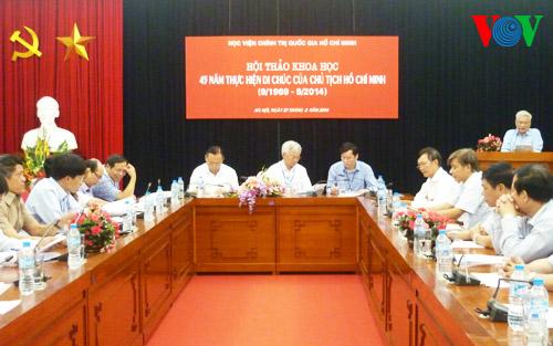 Thời sự trưa ngày 27/8/2014: Hội thảo 45 năm thực hiện Di chúc của Chủ tịch Hồ Chí Minh nêu bật tư tưởng trọng dân, thân dân của Người