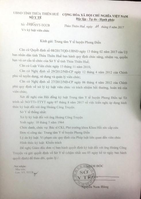 Bộ trưởng Thông tin Truyền thông Trương Minh Tuấn yêu cầu Giám đốc Sở Thông tin truyền thông tỉnh Thừa Thiên-Huế báo cáo về việc phạt bác sĩ
