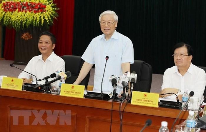 Tổng Bí thư Nguyễn Phú Trọng làm việc với cán bộ chủ chốt Bộ Công thương (Thời sự trưa 11/7/2018)