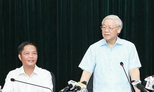 Làm việc với Ban Cán sự Đảng Bộ Công Thương, Tổng bí thư Nguyễn Phú Trọng lưu ý đơn vị vừa trải qua những chuyện