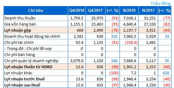 Các công ty công bố báo cáo tài chính quý 4/2018 (23/1/2019)
