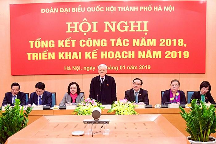 Tổng Bí thư, Chủ tịch nước Nguyễn Phú Trọng dự Hội nghị tổng kết công tác của Đoàn Đại biểu Quốc hội thành phố Hà Nội (Thời sự sáng 17/1/2019)