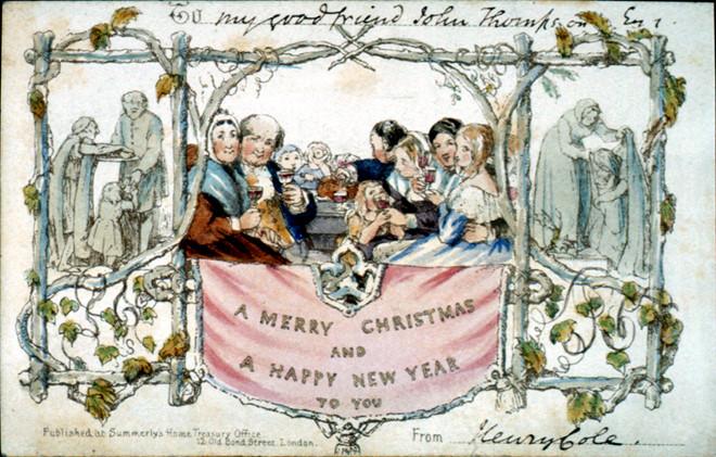 Tấm thiệp Giáng sinh đầu tiên trên thế giới được sáng tạo vào năm 1843 tại Triển lãm Giáng sinh ở bảo tàng Charles Dickens, London, Anh (20/11/2019)