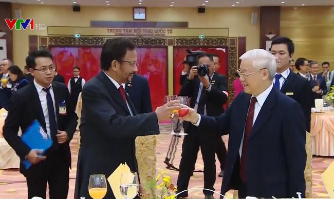 Tổng Bí thư, Chủ tịch nước Nguyễn Phú Trọng chủ trì tiệc chiêu đãi Quốc vương Brunei Haji Hassanal Bolkiah (Thời sự sáng 28/3/2019)