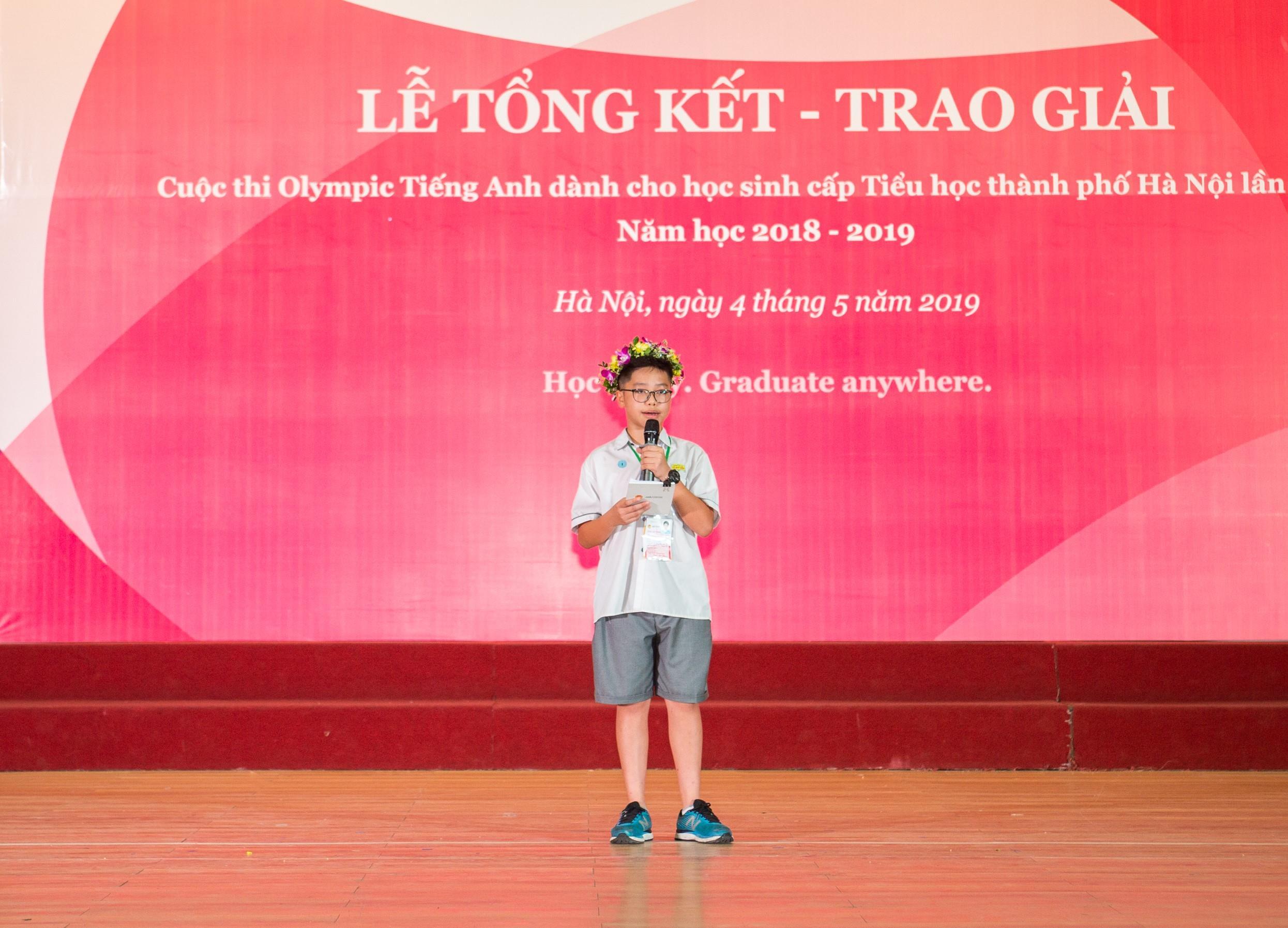 Mai Phúc Huy: Quán quân cuộc thi Olympic Tiếng Anh Tiểu học lần thứ 16 năm 2019 (21/5/2019)