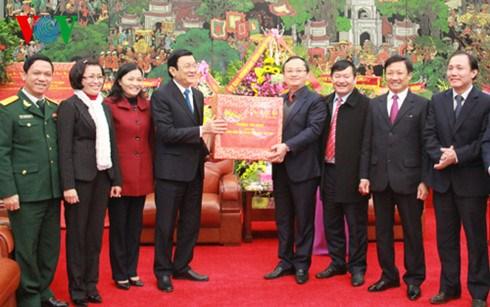 Chủ tịch nước Trương Tấn Sang cùng đoàn công tác đến thăm, chúc Tết Đảng bộ, chính quyền, nhân dân tỉnh Hưng Yên và Hà Nam (Thời sự đêm 03/02/2016)