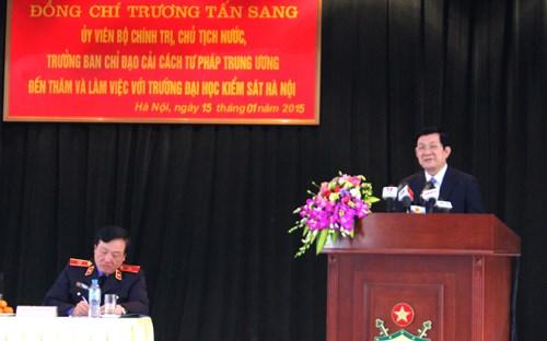 Thời sự chiều ngày 15/01/2015: Chủ tịch nước Trương Tấn Sang thăm và làm việc tại Trường Đại học Kiểm sát Hà Nội.