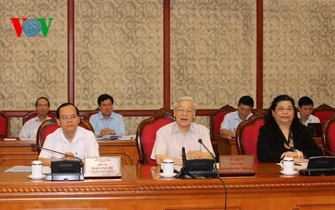 Bộ Chính trị làm việc đợt thứ hai với Ban Thường vụ các đảng bộ Trung ương cho ý kiến về việc chuẩn bị đại hội nhiệm kỳ 2015-2020.