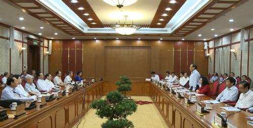Bộ Chính trị làm việc với Ban Thường vụ Thành ủy Hà Nội cho ý kiến về công tác chuẩn bị Đại hội Đại biểu lần thứ XVI Đảng bộ Thành phố Hà Nội