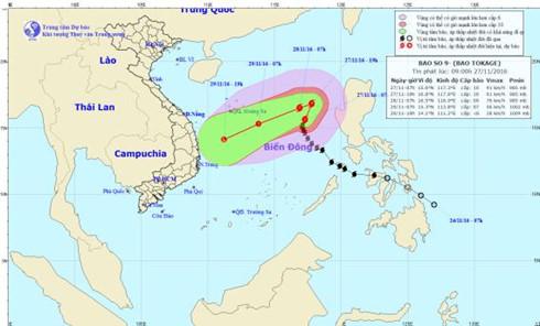 Bão số 9 liên tục đổi hướng, được dự báo là cơn bão rất nguy hiểm (Thời sự trưa 27/11/2016)