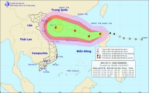 Một cơn bão mới vừa hình thành giật cấp 10 đã vào biển Đông, trở thành cơn bão số 11 trong năm nay (Thời sự trưa 13/10/2017)