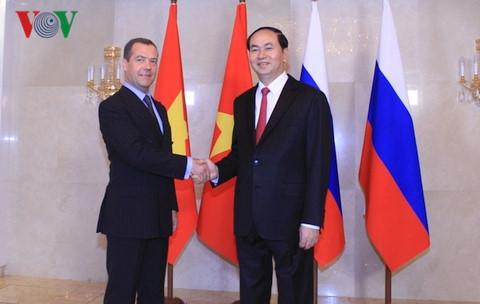 Chủ tịch nước Trần Đại Quang hội kiến với Thủ tướng Liên bang Nga Medvedev (Thời sự đêm 29/6/2017)