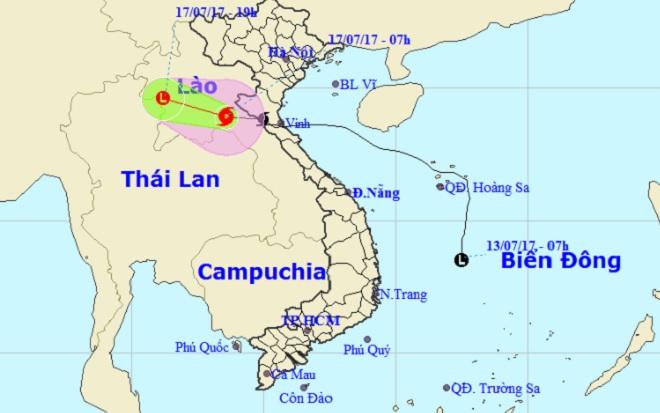 Bão số 2 đã vượt qua khu vực biên giới Việt-Lào và đi sang khu vực Trung Lào (Thời sự trưa 17/7/2017)